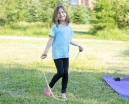 Girl outside exercising
